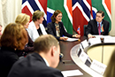 Deputy Minister Luwellyn Landers with the Secretary-General of Norway, Marienne Hagen, during a High Level Consultation Meeting, Pretoria, South Africa, 23 March 2018.