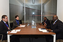 Bilateral Meeting between Deputy Minister Luwellyn Landers and the Minister of Foreign Affairs of Uganda, Oryem Henry Okello, Baku, Azerbaijan, 6 April 2018.
