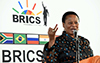 Deputy Minister Reginah Mhaule addresses the youth as part of a series of community outreach activities in the run-up to the 10th BRICS Summit scheduled to take place in Johannesburg from 25 - 27 July 2018; Mthimba TVET College, Hazyview, Mpumalanga, South Africa, 29 June 2018.