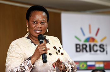 Deputy Minister Reginah Mhaule at the BRICS Stakeholder Engagement, Solomon Mahlangu Building, Pretoria, South Africa, 27 June 2018.