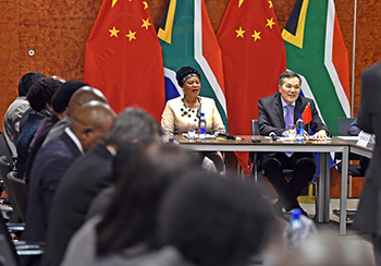 Deputy Minister Reginah Mhaule and Vice-Minister Qian Keming sign the agreed Minutes of the Second Session of the South Africa-China Joint Working Group, Pretoria, South Africa, 28 May 2018.