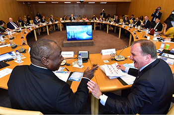 President Cyril Ramaphosa and Prime Minister of Sweden Stefan Löfven Co-chair the International Labour Organisation (ILO) Global Commission on the Future of Work, Geneva, Switzerland, 16 May 2018.