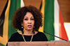 Minister Lindiwe Sisulu at the Memorial Service of Ambassador Sonwabo Edwin 'Eddie' Funde, OR Tambo Building, Pretoria, South Africa, 28 May 2018.