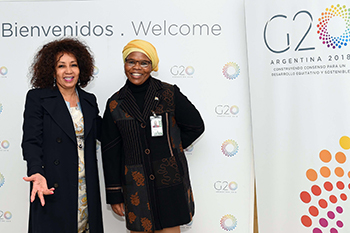 Minister Lindiwe Sisulu arrives at the Ministro Pistarini International Airport ahead of the G20 Foreign Ministers' Meeting. Minister Sisulu is received by South Africa's Ambassador to the Republic of Argentina, Ambassador Phumelele Gwala, Buenos Aires, Argentina, 19 May 2018.