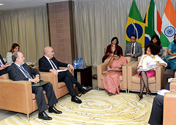 Minister Lindiwe Sisulu; the Minister of External Affairs, Sushma Swaraj, of India; and the Deputy Vice Minister of Foreign Affairs, Marcos Galvão of Brazil, at the IBSA Ministerial Meeting, OR Tambo Building, Pretoria, South Africa, 4 June 2018.