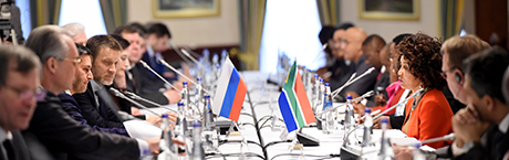Minister Lindiwe Sisulu and the Minister of Natural Resources and Environment, Mr Dmitry Kobylkin, at the 15th Session of the Annual South Africa - Russia Intergovernmental Committee on Trade and Economic Cooperation (ITEC), Moscow, Russian Federation. 21 November 2018.