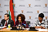 Minister Lindiwe Sisulu with Deputy Minister Luwellyn Landers and Deputy Minister Reginah Mhaule during the Pre-Budget Vote Speech Media Briefing, Imbizo Media Centre, Parliament, Cape Town, South Africa, 15 May 2018.