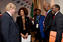 Bilateral Meeting between Minister Lindiwe Sisulu and the Foreign Minister of the United Kingdom, Borris Johnson, to touch on the Mandela 100 Years Celebrations, investments to South Africa, Wildlife conservation, etc. Minister Lindiwe Sisulu is accompanying President Ramaphosa to the Commonwealth Heads of Government Meeting (CHOGM 2018), London, United Kingdom, 17 April 2018.