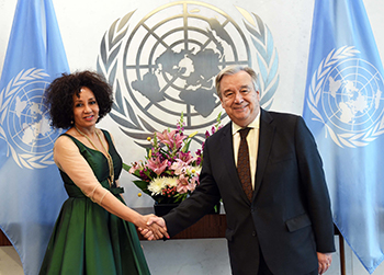 Minister Lindiwe Sisulu pays a Coutersy Call on the Secretary General of the United Nations, Mr Antoinio Guterres, New York, USA, 8 June 2018.