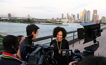 Preview Interviews by Minister Lindiwe Sisulu with Nick Harper of Feature Story News (reporting for SABC) and Nadia Neophytou of EWN, and DIRCO News Agency on the sidelines of Minister's reception on the occasion of the campaign for the non-permanent seat in the UN Security Council, New York USA, 7 June 2018.