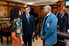 Minister Lindiwe Sisulu with Bishop Mosa Sono and Ambassador S T Lin of China, Soweto, South Africa, 17 June 2018.