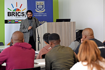 Public Lecture by Ambassador Anil Sooklal and South Africa's BRICS Sherpa addressing students at the University of the Western Cape, Cape Town, South Africa, 14 May 2018.