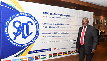 President Cyril Ramaphosa at the SADC Solidarity Conference with the Sahrawi Arab Democratic Republic (SADR) or Western Sahara, Pretoria, South Africa, 25-26 March 2019