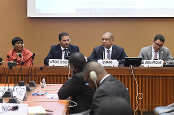 Deputy Minister Alvin Botes addresses the African Group of Ambassadors, at the High-Level Segment of the 43rd Session of the United Nations (UN) Human Rights Council, Geneva, Switzerland, 25 February 2020.