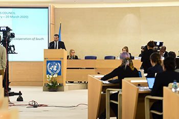 Deputy Minister Alvin Botes delivers the High-Level Panel National Statement during the High-Level Segment of the 43rd Session of the United Nations (UN) Human Rights Council, Geneva, Switzerland, 24 February 2020.
