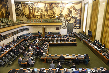 Deputy Minister Alvin Botes delivers a statement at the High Level Segment at the Conference of Disarmament, at the High-Level Segment of the 43rd Session of the United Nations (UN) Human Rights Council, Geneva, Switzerland, 26 February 2020.
