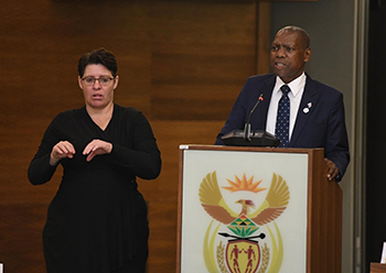 Media Briefing to further unpack Government's Intervention Measures on COVID-19, OR Tambo Building, Pretoria, South Africa, 24-25 March 2020.