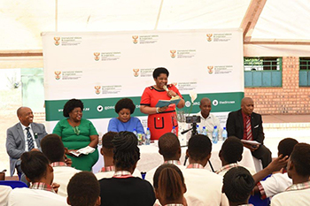 "Deputy Minister Candith Mashego-Dlamini participates in a ""Back-to-School"" Outreach, Mukhari Secondary School, Mookgopong, Limpopo, 3 February 2020."