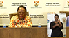 Minister Naledi Pandor and the Minister of Transport, Mr Fikile Mbalula, at Media Briefing to update Government's Lockdown Intervention Measures on COVID-19, Pretoria, South Africa, 31 March 2020.