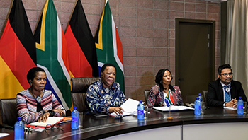 Minister Naledi Pandor and the Federal Minister of Foreign Affairs of Germany, Mr Heiko Maas, via a video conference of the Tenth Meeting of the South Africa – Germany Bi-National Commission (BNC), OR Tambo Building, Pretoria, South Africa, 20 March 2020.