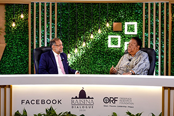 Minister Naledi Pandor participates in the Fifth Raisina Dialogue Conference with the Director Center for New Economic Diploma, Ambassador Navdeep Singh Suri, Taj Palace, New Delhi, India, 15 January 2020.