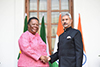 Minister Naledi Pandor with the Minister of External Affairs of India, Dr S Jaishankar, during the 10th Session of the South Africa – India Joint Ministerial Commission (JMC), New Delhi, India, 17 January 2020.