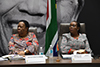Minister Naledi Pandor and the Minister of Tourism, Ms Nkhensani Kubayi-Ngubane; during a video conference meeting with the Southern African Development Community (SADC) Council of Ministers, at the Council for Scientific and Industrial Research (CSIR), Pretoria, South Africa, 18 March 2020.