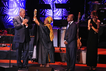 Dr Nkosazana Dlamini Zuma receives an award at the South-South Awards for Global Leadership, New York, USA, 25 September 2012.