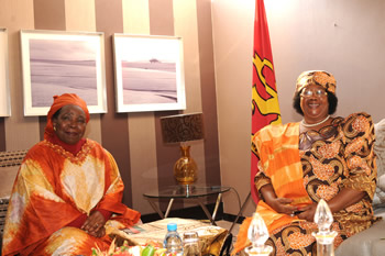 Minister of Home Affairs and Incoming Chair of the AU Commission, Dr Nkosazana Dlamini Zuma, pays a Courtesy Call on President Joyce Banda of Malawi, Pretoria, South Africa, 30 July 2012.