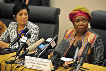 Minister Nkosazana Dlamini Zuma, incoming Chairperson of the AU Commission, during a Press Conference, 16 July 2012.