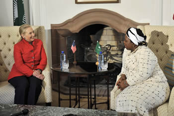 United States Secretary of State, Ms Hillary Rodham-Clinton meets with African Union (AU) Elect Chairperson Dr Nkosazana Dlamini Zuma. Pretoria, South Africa, 7 August 2012.