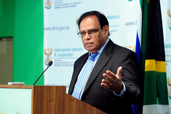 Deputy Minister Ebrahim Ebrahim briefs the Media on International Developments, Media Room, OR Tambo Building in Pretoria, South Africa, 14 August 2012.