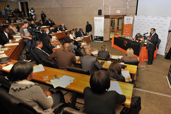 Deputy Minister Ebrahim Ebrahim addresses the students at the University of Johannesburg, Soweto Campus, on BRICS and South Africa's involvement in the organisation, 24 October 2012.