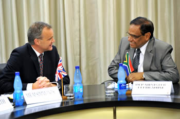 Deputy Minister Ebrahim Ebrahim hosts the Parliamentary Under Secretary of State at the Foreign and Commonwealth Office responsible for Africa, Mr Mark Simmonds, of the United Kingdom for Bilateral Political and Economic Discussions, Pretoria, South Africa, 12 November 2012.