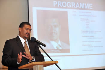 Deputy Minister Marius Fransman addresses the Breakfast Meeting on the Promotion of Economic Diplomacy, Ongegund Lodge & Conference Centre, 24 April 2012.