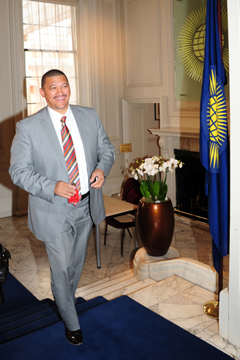 Deputy Minister Marius Fransman arrives at Marlborough House to attend the Commonwealth Ministerial Task Force in London, UK, 15 June 2012.
