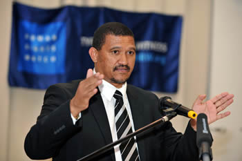 Deputy Minister Marius Fransman addresses a Human Rights Watch Meeting. On the panel left to right: Mr Daniel Bekele (Executive Director Africa Division, Human Rights Watch), Mr Cameron Jacobs (South Africa Director, Human Rights Watch), Deputy Minister Marius Fransman and Ms Tiseke Kasambala (Africa Advocacy Director, Human Rights Watch); in Fourways, Johannesburg, South Africa, 17 October 2012.