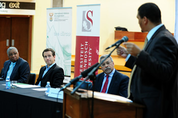 Deputy Minister Marius Fransman participates in a Round Table Discussion at the University of Stellenbosch, Stellenbosch, Western Cape, South Africa, 21 November 2012.