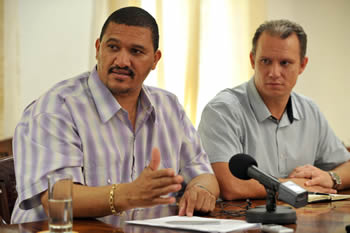 Minister of Foreign Affairs Jean-Paul Adam of Seychelles and Deputy Minister Marius Fransman during a Press Conference after the SADC Troika Meeting on Madagascar hosted by Seychelles, 26 July 2012.