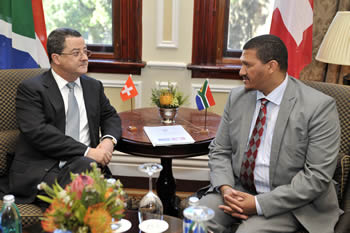 Deputy Minister of International Relations and Cooperation, Mr Marius Fransman, with the State Secretary of Foreign Affairs of the Swiss Confederation to the Republic of South Africa, Mr Yves Rossier; during a High level Consultation Meeting, 11 October 2012.