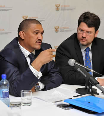 Deputy Minister Marius Fransman and Deputy Minister Andries Nel during a Press Conference on the Chapter 9 Institutions on South Africa's Report to the UN Universal Peer Review Mechanism held recently in Geneva, 11 June 2012.