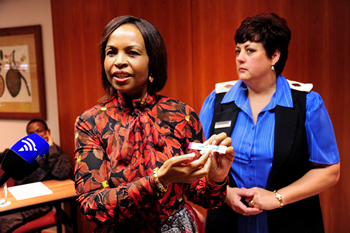 Minister Maite Nkoana-Mashabane takes an AIDS test in commemoration of World Aids Day and encourages other people to do the test, Mbombela, Mpumalanga, South Africa, 1 December 2012.