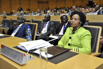 Minister Maite Nkoana-Mashabane at the Executive Ministerial Meeting of the African Union, Addis Ababa, Ethiopia, 12 July 2012.