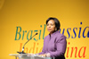 Minister Maite Nkoana-Mashabane delivers a Keynote Address at the BRICS Colloquium hosted by the Progressive Business Forum, a side-line event at the venue of the ANC National Policy Conference, Gallagher Estates in Midrand, South Africa, 25 June 2012.