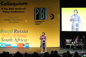 Minister Maite Nkoana-Mashabane delivers a Key Note Address at the BRICS Colloquim hosted by the Progressive Business Forum, a side-line event at the venue of the ANC National Policy Conference, Gallagher Estates in Midrand, South Africa, 25 June 2012.