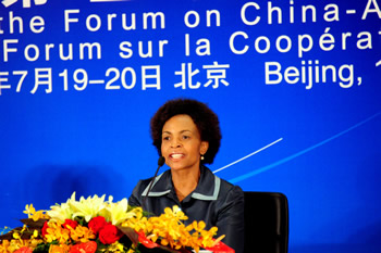 Minister Maite Nkoana-Mashabane addresses the Media at the Trilateral Press Briefing held at the conclusion of the Forum on China-Africa Cooperation (FOCAC) in Beijing, China, 20 July 2012.