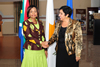 Minister Nkoana Mashabane is greeted by the Foreign Minister of Cyprus, H E Dr Erato Kozakou-Marcoullis, as she arrives for Bilateral Discussions, Cyprus, 21 September 2012.