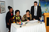 Ministers Nkoana Mashabane and Kozakou-Marcoullis sign and exchange MOU's at the conclusion of the Bilateral Discussions in Cyprus, 21 September 2012.