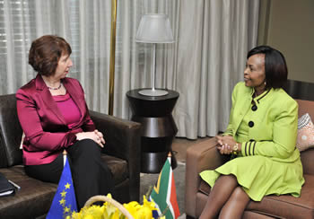 Minister of International Relations and Cooperation, Ms Maite Nkoana-Mashabane, with her counterpart from the European Union, Ms Catherine Ashton, High Representative for Foreign Affairs and Security Policy, Pretoria, South Africa, 24 August 2012.