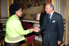 Minister Maite Nkoana-Mashabane is greeted by the Foreign Minister of the French Republic, Laurant Fabius as she arrives for the Bilateral Meeting, Paris, France.